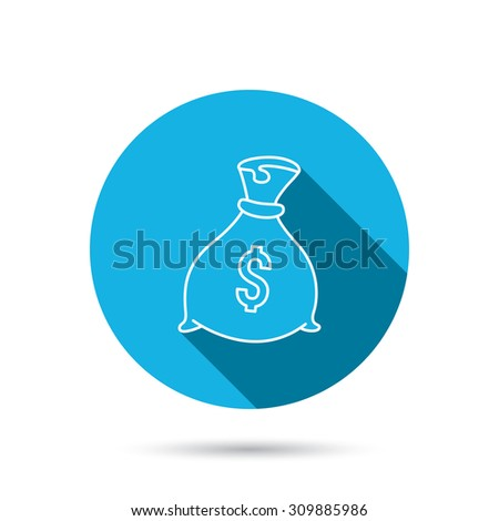 Sack with dollars icon. Money bag sign. Banking symbol. Blue flat circle button with shadow. Vector