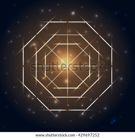Sacred Geometry. Abstract geometric shapes on a dark blue glowing background. Vector abstract background. Mandala