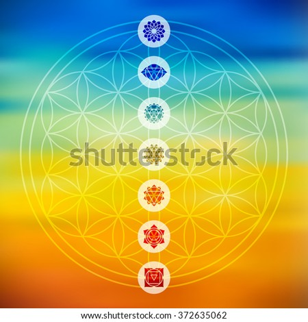 Sacred geometry Flower of Life design with seven main chakra icons over colorful blurred gradient background. EPS10 vector. - stock vector