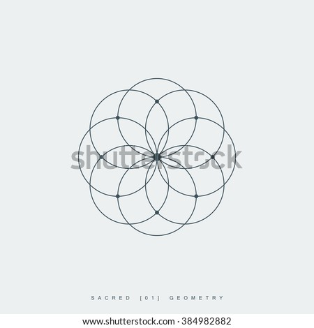 sacred geometry. lotus flower. mandala ornament. esoteric or spiritual symbol. isolated on white background. vector illustration - stock vector