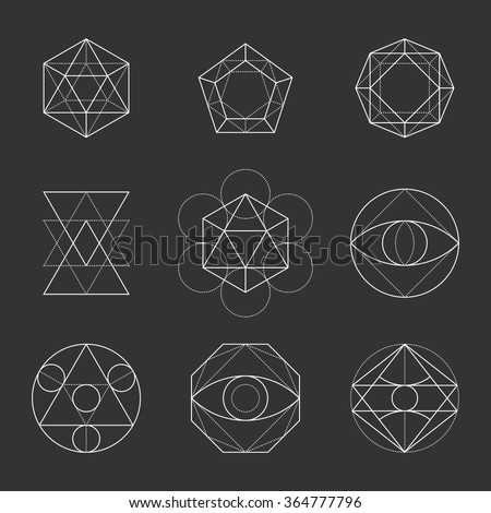 Sacred Geometry Shapes. Spirituality, Alchemy, Religion, Hipster Symbols. Vector. - stock vector