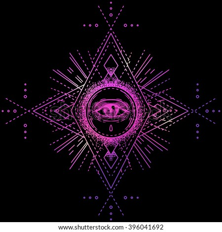 Sacred geometry symbol with all seeing eye isolated on black. Mystic, alchemy, occult concept. Design for indie music album cover, t-shirt print, boho poster, flyer. Astrology, shamanism, religion. - stock vector