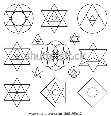 Sacred geometry symbols,icons.Vector outline objects.Vintage Alchemy, religion, philosophy, spirituality, hipster signs,elements.Sacred isolated vector,buddhism,religion,historical set,ethnic shapes - stock vector