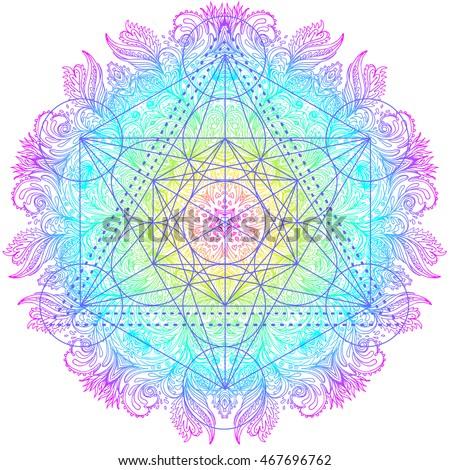 Sacred mandala flower of life in ornate round mandala pattern