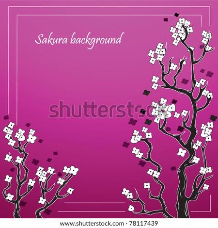 Sacura frame flower background - stock vector