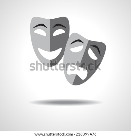 Sad and happy theater masks on gradient background with shadow - stock vector