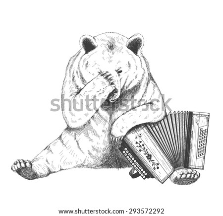 Sad bear sits with an accordion. Sketch - stock vector