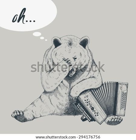 Sad bear with accordion. Sketch. - stock vector