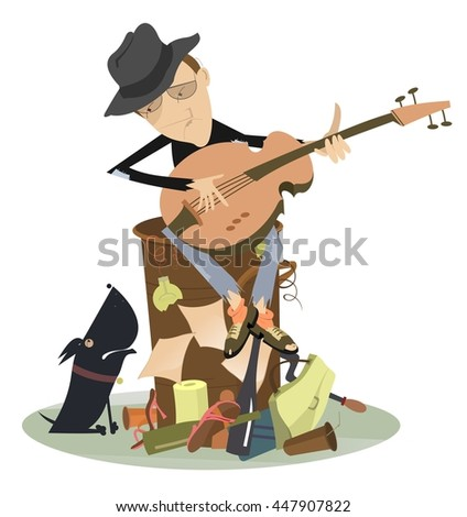 Sad blues or jazz man plays guitar. Beggar is sitting on pile of garbage and playing guitar for his dog  - stock vector