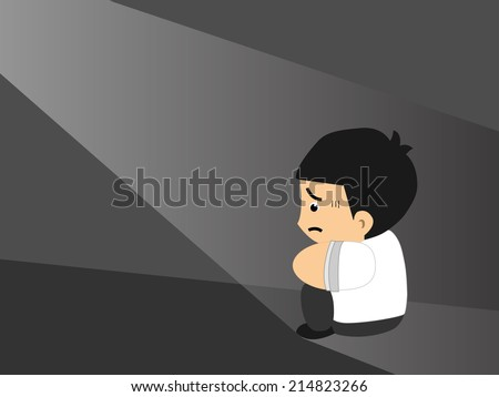 Sad business man in a empty room - stock vector
