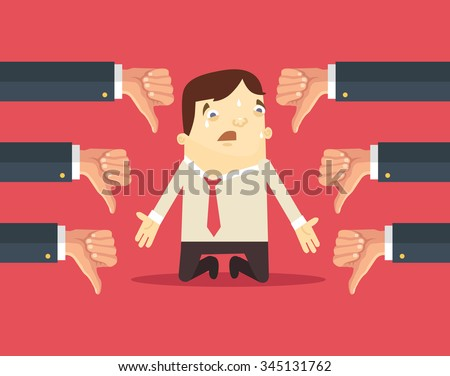 Sad businessman and many hands with thumbs down. Vector flat illustration - stock vector