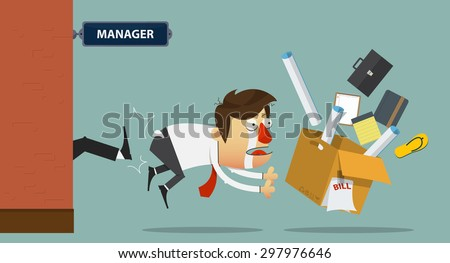 Sad businessman being kicked out of the door by his boss.  Cartoon character. Vector Illustration - stock vector