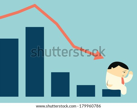 Sad businessman crying with falling down arrow and statistics bar in depression financial concept.