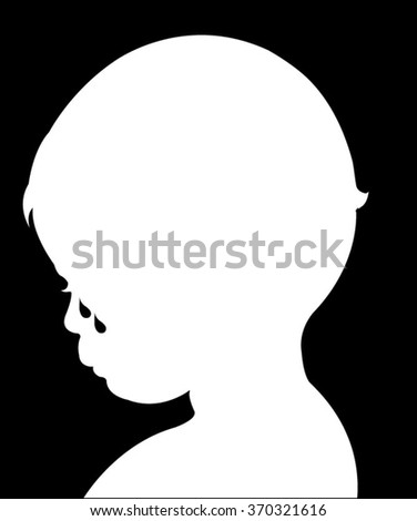 sad child crying, silhouette vector