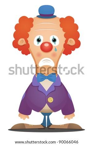 Sad Clown - stock vector