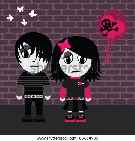 Sad emo girl and boy. EPS 8 CMYK with global colors vector illustration.