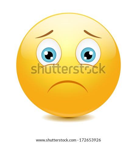 Sad emoticon, vector illustration - stock vector