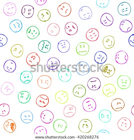 Sad faces seamless pattern, doodle. Negative emotions doodle faces. Doodle sad faces. Different negative emoticons Hand drawn doodle seamless pattern negative emotions Colorful pen pencil drawn smiles - stock vector