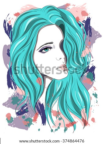Sad girl with blue hair. Vector illustration on abstract background. Print for T-shirt - stock vector