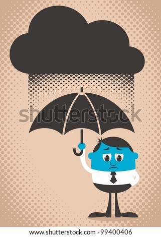 Sad Man: Conceptual illustration of sad and blue man. Use the dark cloud as copy space if you want. Easy to change colors. - stock vector