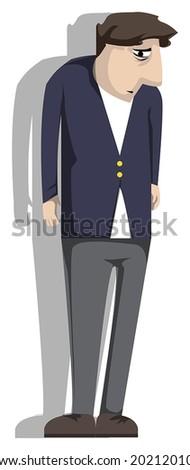 sad man, vector illustration - stock vector