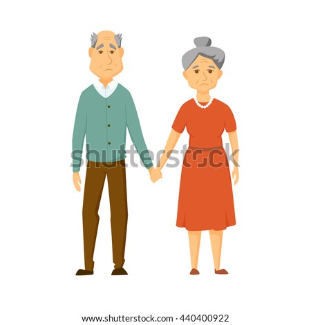 Sad old couple stand together and hold hands. Unhappy elderly man and women. Sad old couple vector illustration. Cartoon elderly man and women. Unhappy adult family. Worried old couple. - stock vector