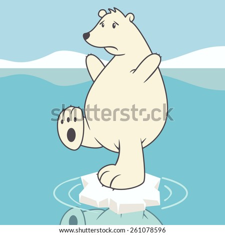 Sad polar bear, global warming, concept, vector illustration - stock vector