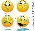 Sad smiling balls - stock vector