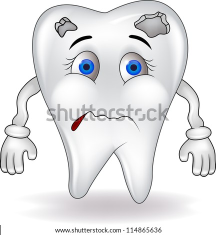 Sad tooth - stock vector