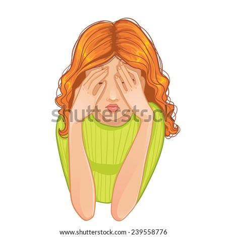 Sad woman. Vector image of young sad woman who closes her face with her hands, eps10 - stock vector