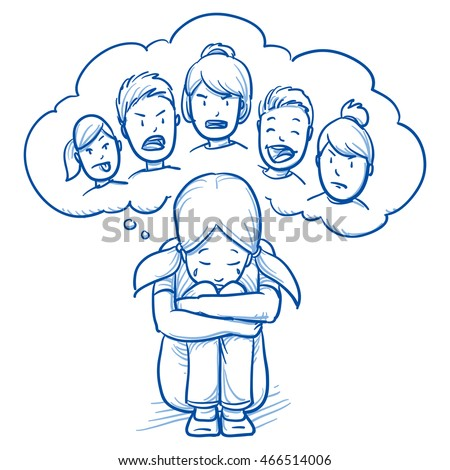 Sad young girl sitting in huddled on the floor, with thought bubble of bulling kinds. Hand drawn cartoon doodle vector illustration.