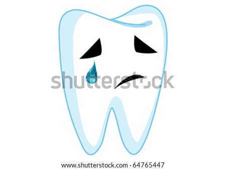 Sadness Tooth Cartoon Character Illustration in Vector - stock vector