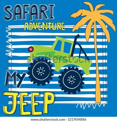 safari adventure with jeep vector illustration - stock vector