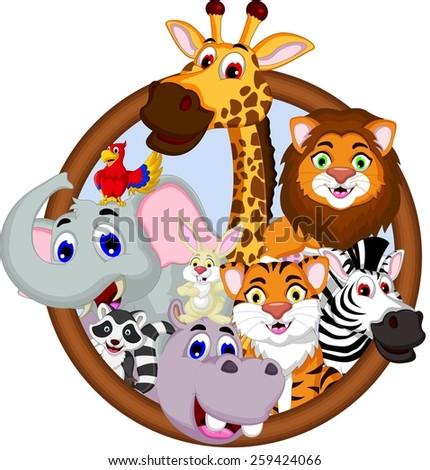 safari animal cartoon in frame - stock vector