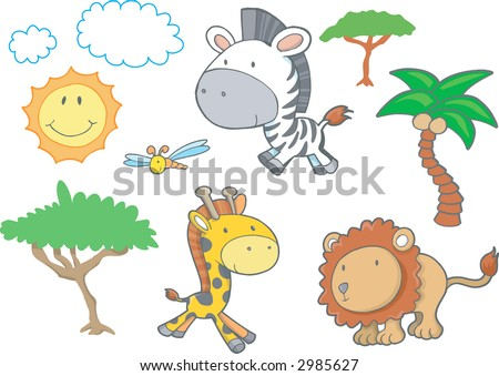 Safari Animals Vector Illustration - stock vector