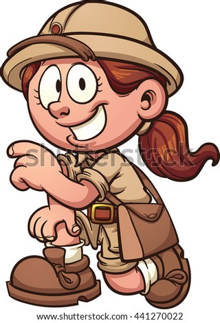 Safari girl kneeling. Vector clip art illustration with simple gradients. All in a single layer.