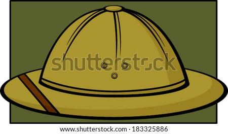 safari hat or pith helmet - stock vector