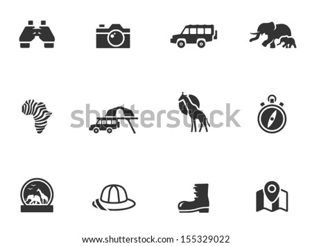 Safari icons in black & white - stock vector