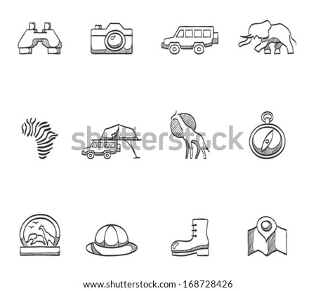 Safari icons in sketches - stock vector
