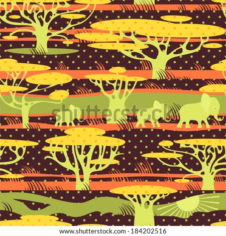 Safari in Africa seamless polka dots background. Elephants on african savannah. Vector pattern.