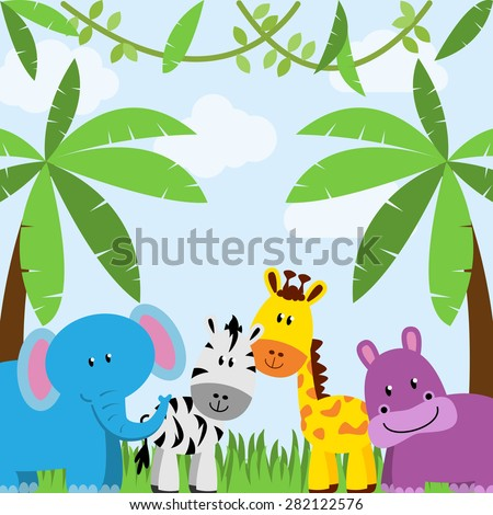 Safari, Jungle or Zoo Themed Animal Background - stock vector