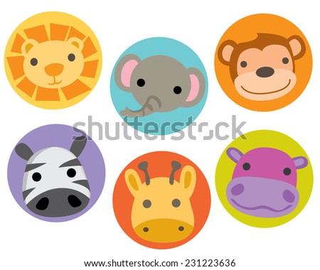 Safari Jungle Zoo Animal Characters Faces Circles - stock vector