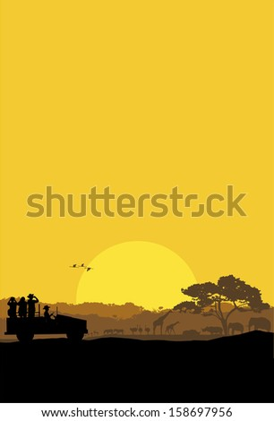 Safari tour, vector - stock vector