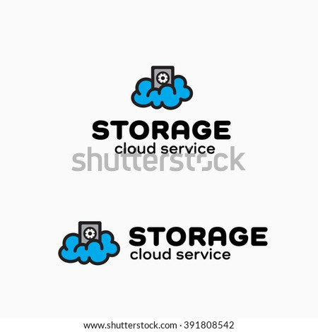 Safe Cloud Simple Symbol For Data Storage Company, Network Mobile Service, IT start up, Software Firm. Represents the Concept of Safety, Connection, wi-fi Wireless Technology, Hosting, Backup etc - stock vector