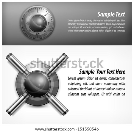 Safe combination lock wheel and text, vector illustration  - stock vector