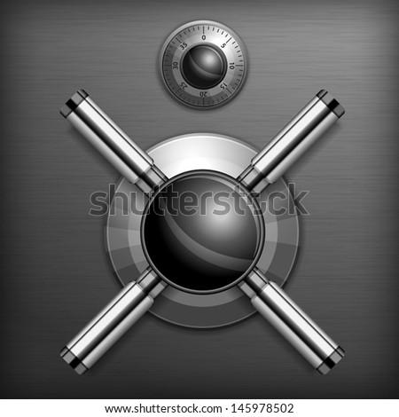 Safe combination lock wheel background, vector illustration  - stock vector