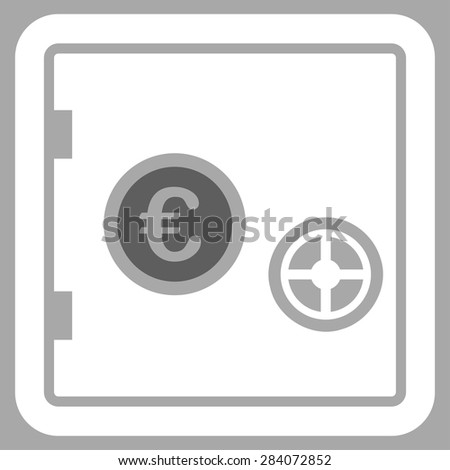 Safe from BiColor Euro Banking Icon Set. Vector style: flat bicolor, dark gray and white symbol, rounded angles, silver background. - stock vector