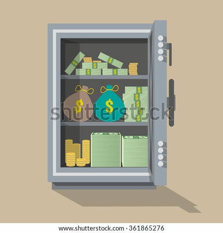 Safe front view. Opened silver metallic safe with money inside, gold coins, stacks of dollar cash, bags with money.vector illustration in flat design on brown background - stock vector