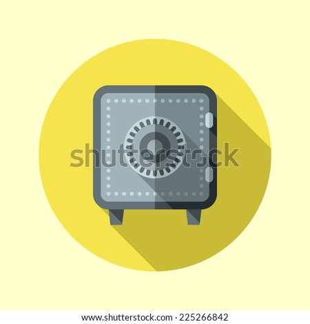 Safe icon. Flat design long shadow. Vector illustration. - stock vector