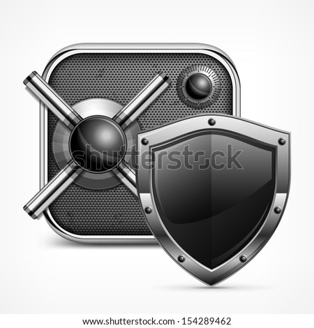 Safe icon with combination lock & shield, vector illustration  - stock vector